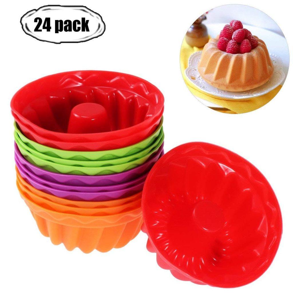 paquete de 12 tazas de silicona reutilizables para hornear moldes para magdalenas sin BPA Moldes para magdalenas